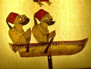 Karagöz and Hacivat on a boat