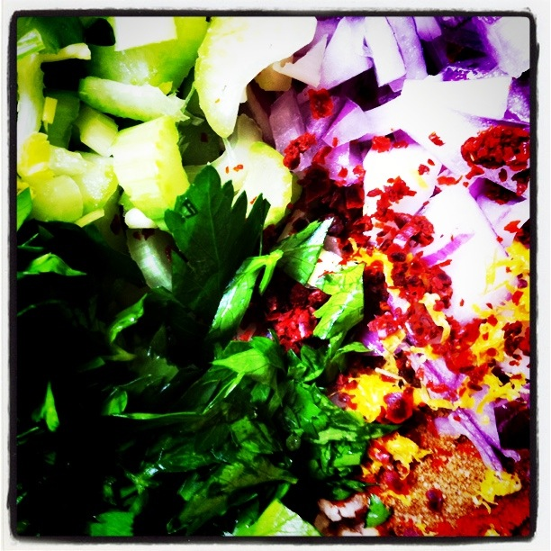 Chopped celery, maydanoz (parsley), purple onion and pressed garlic with lemon zest and pul biber