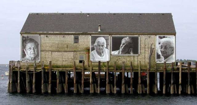 Photo of an Art installation by Ewa Nogiec and Norma Holt on the Fisheerman's Wharf in ProvincetownLeft to right: Eva Silva, Mary Jason, Bea Cabral and Frances Raymond, Fisherman's Wharf, Provincetown (from iamprovincetown.com)