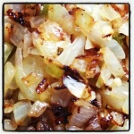 Start by browning the onions and peppers - garlic at the last minute (Image by Liz Cameron)