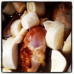 The chicken and parsnips have entered the room - er - crock pot (image by Liz Cameron)