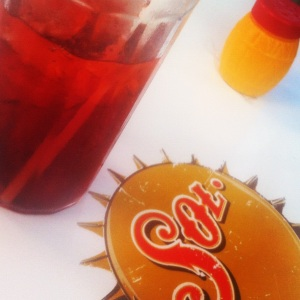 """Jamaica"" hibiscus and sorrel (?) drink at Los Aguaschiles Restaurant in Tulum Pueblo, Mexico (Image by Liz Cameron)"