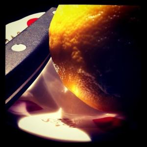 Ominous image of knife, lemon and traditional Turkish tea saucer (Image by Liz Cameron)