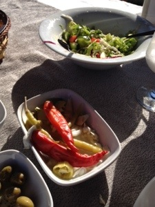 Pickles (and pickled peppers) at Mustafa Bey's Çiftlik Evi in Gaziveren, Northern Cyprus (Image by Liz Cameron)