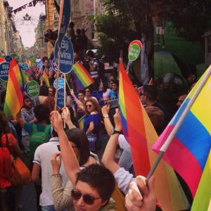 Istanbul Pride march on Istiklal Caddesi, June 2014