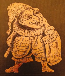 Image from the cover of Mr. Punch's History of the Great War depicting the puppet Punch of Punch and Judy fame